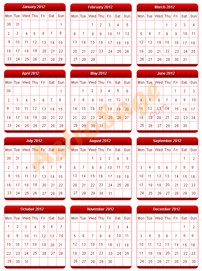 Printable 2012 Calendar: Year 2012 Calendar to Print for Free