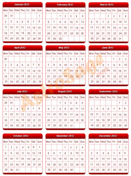 printable 2012 calendar to print free