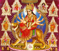 Goddess Durga is worshipped during Navratri Pujan