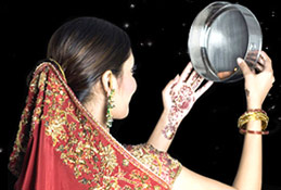 A lady celebrating Karva Chauth festival