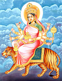 Devi Kushmanda is Worshiped on the fourth day of Navratri festival