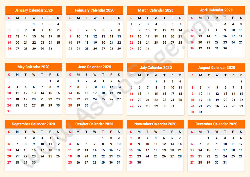 Free Printable Calendar 2020 With Holidays